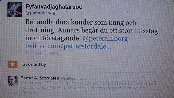 """Peter Ahlborgs inlägg på Petter Stordalens Twitter gillades av """"Hotellmagnaten"""" Stordalen. Foto: Peter Ahlborg"""