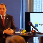 Peter Ahlborg bevakar när Stefan Löfven presenter moderna beredskapsjobb i staten
