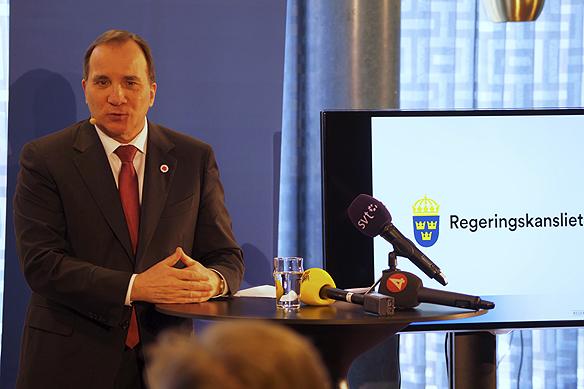 Stefan Löfven höll en pressträff i Göteborg i samband med att han skulle hålla ett första maj-tal på Götaplatsen och gå i första maj-tåget i Göteborg. Foto: Peter Ahlborg