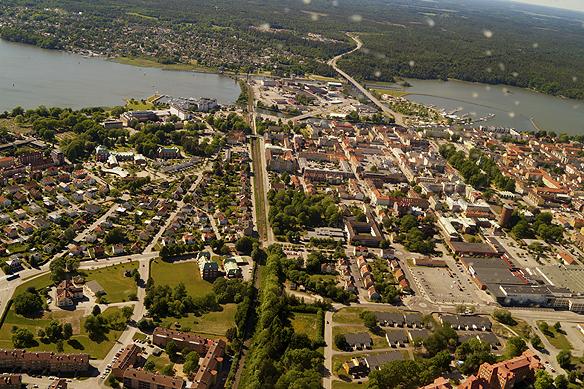 Fantastisk utsikt över Vänersborgs central delar. Foto: Peter Ahlborg