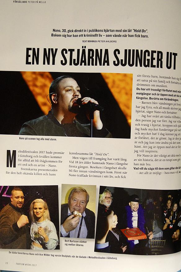 """Peter Ahlborg skriver i Tidningen Faktum att Melodifestivalartisten Nano, gick direkt in i publikens hjärtan med sin låt """"Hold On"""". Foto: Peter Ahlborg"""