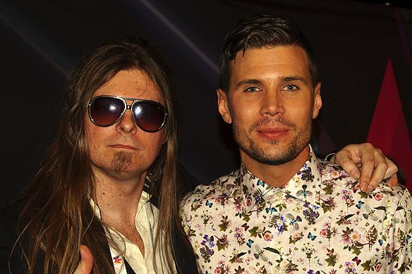 Peter Ahlborg tillsammans med Robin Bengtsson på efterfesten i Melodifestivalen 2017.
