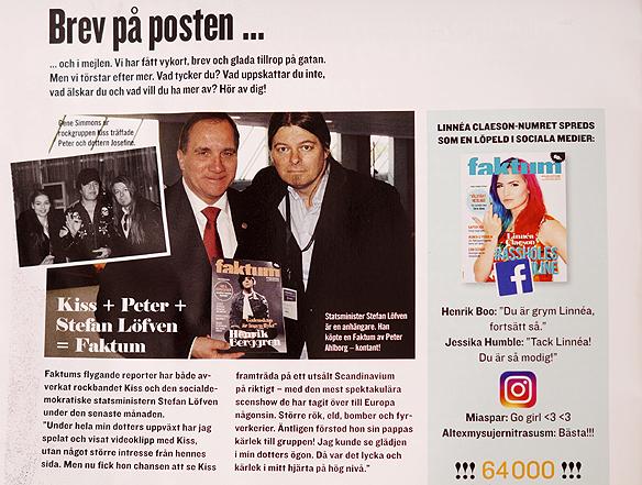 Peter Ahlborg träffar rockgruppen Kiss, och statsminister Stefan Löfven köpte en tidningen Faktum av Peter Ahlborg, detta uppmärksammas i senaste numret av Tidningen Faktum, juli 2017. Foto: Peter Ahlborg