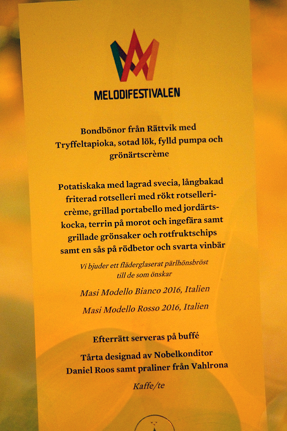 Matsedel – Stadshuset – välkomstfest i Melodifestivalen den 7 mars 2018. Det var Stockholms stad som bjöd alla 12 artister och människor som jobbar med Melodifestivalen på denna gudomligt goda mat. Foto: Peter Ahlborg