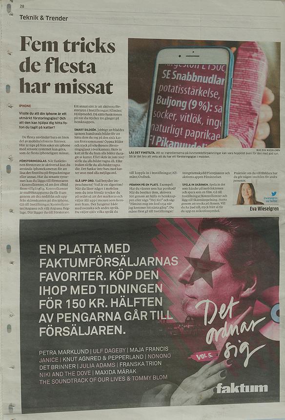 GP kör en reklamkampanj för Faktumplattan, en annonskampanj som pryds av Peter Ahlborg under flera månader våren 2018. Här en halv baksida i GP med reklam för Faktumplattan det ordnar sig. Foto: Peter Ahlborg