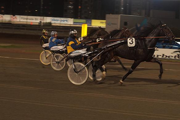 Den framgångsrika Åby-kusken Robert Berg får här en bra start. Foto: Peter Ahlborg