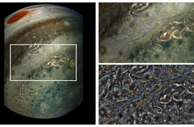 Collage of images showing Jupiter's clouds