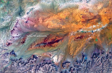 The colorful landscape of the the Ga'ara Depression seen from above