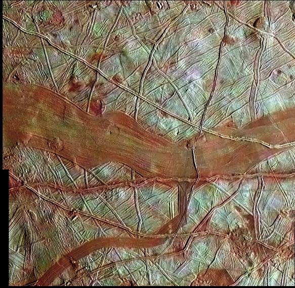 Streaks of red criss-cross on Europa's surface