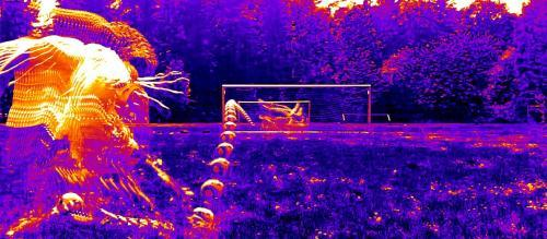 False-color image showing the path of a knuckleball