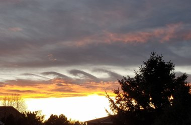 Kelvin-Helmholtz clouds at sunset over metro Denver