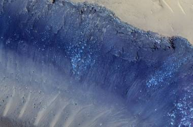 HiRISE image showing the aftermath of landslides on Mars