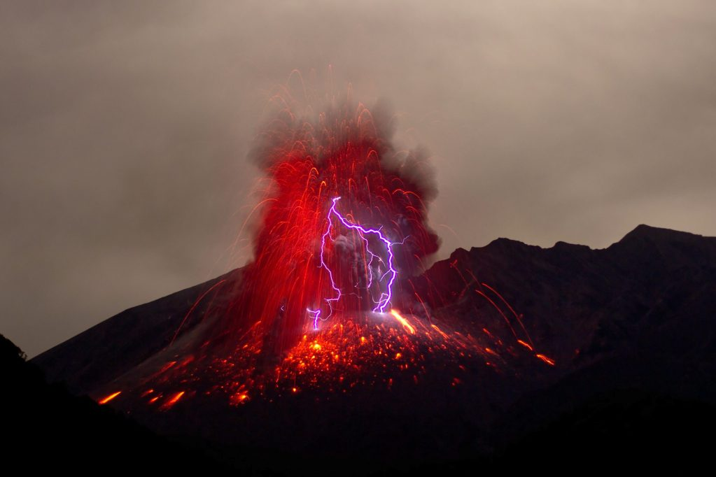 Purple lightning from a volcanic eruption
