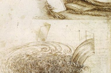 Drawings by Leonardo Da Vinci showing water flow around and past different objects.