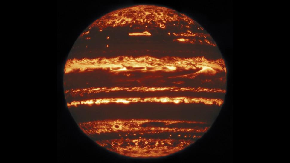 A composite image of Jupiter in infrared.