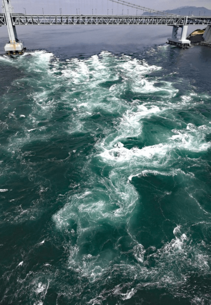 The Naruto whirlpools seen by helicopter. Photo by Mainichi/N. Yamada.