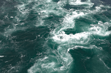 The Naruto whirlpools seen by helicopter.