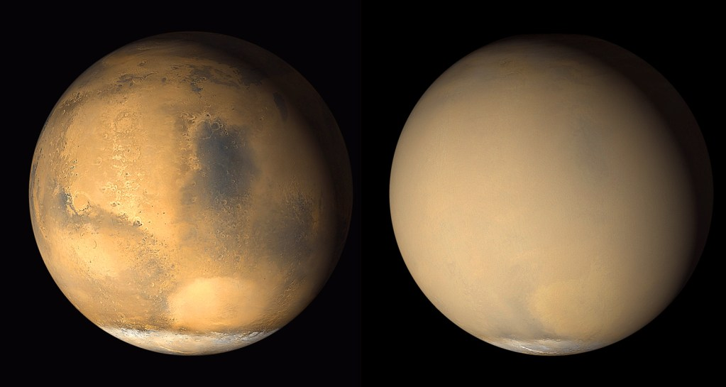Mars seen before and during the 2018 Global Dust Storm.