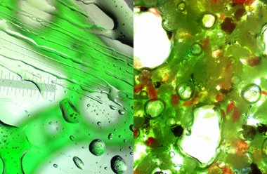 Close-ups of bubbly lava analogues.