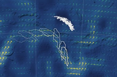 Iceberg A-68A (outlines) swerves around South Georgia Island (white) thanks to local ocean currents (arrows).