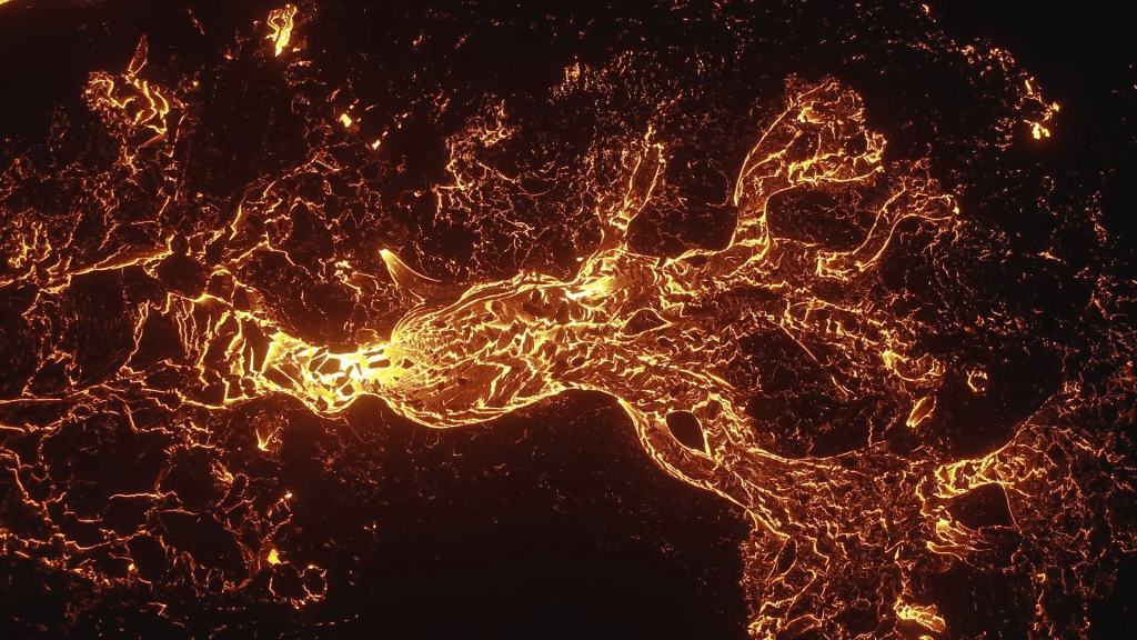 Looking down on a river of lava.