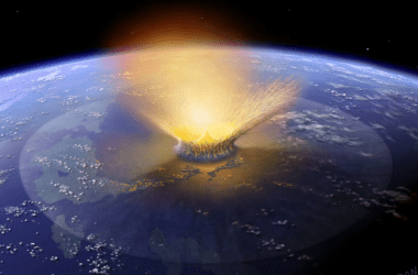 An artist's conception of the Chicxulub impact.