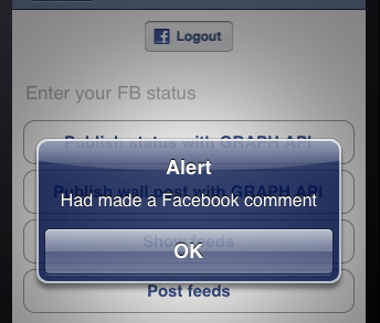 iPhone Simulator showing alert box after Facebook Comment created