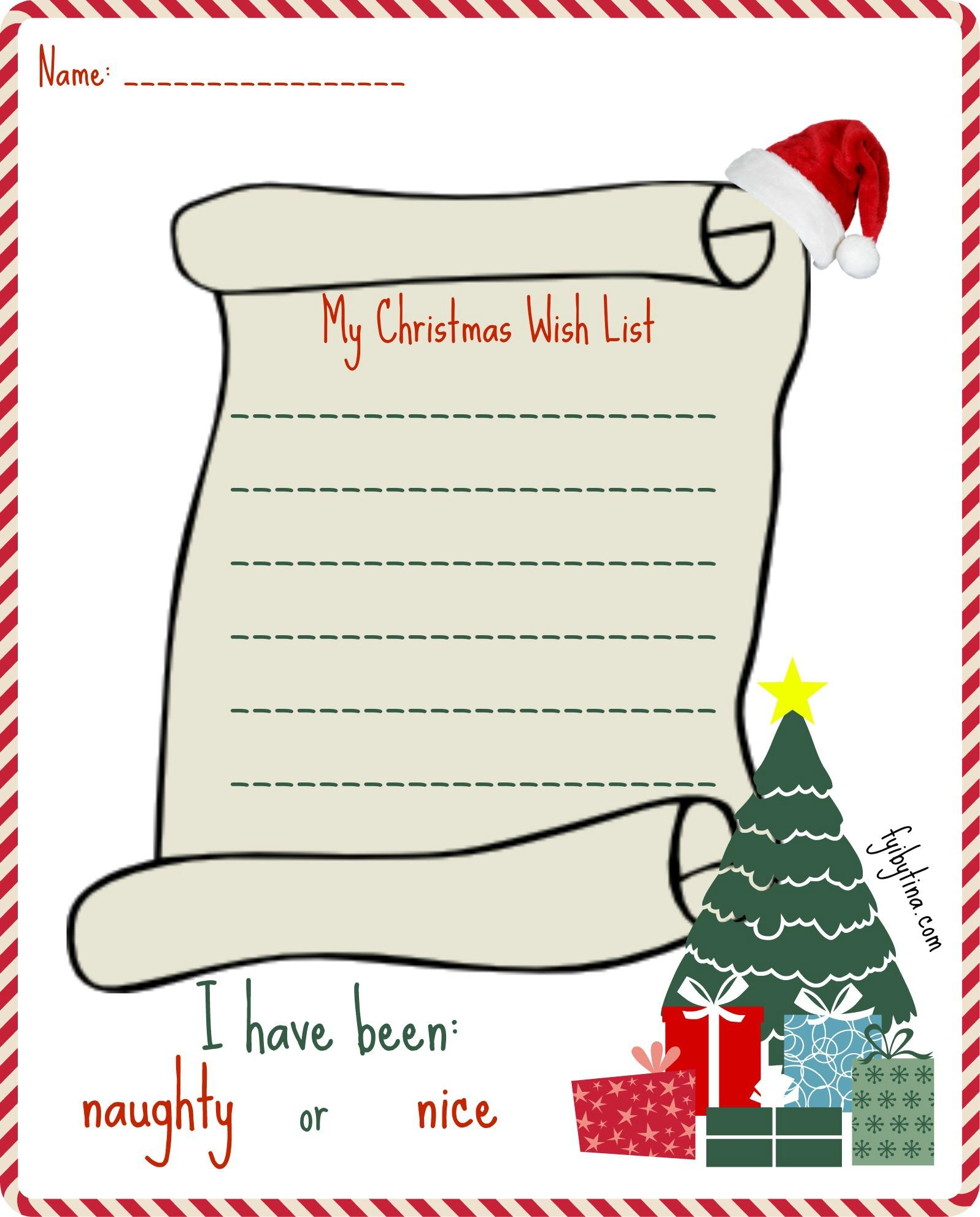 Printable My Christmas Wish List For Santa