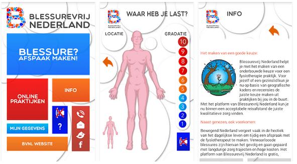 Blessurevrij Nederland app fysiotherapie Purmerend vind jouw praktijk in de buurt