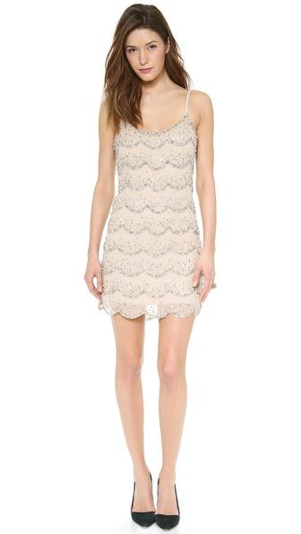 Alice + Olivia Wes Embellished Scallop Slip Dress - Clear/Silver/Pale Gold