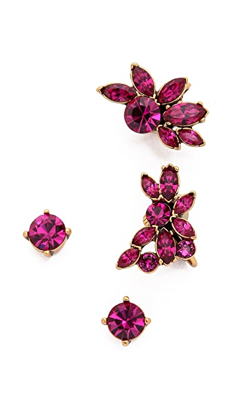 Oscar De La Renta Navette Crystal Cuff Earrings - Fuchsia