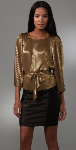 Halston Heritage Pleated Long Sleeve Blouse