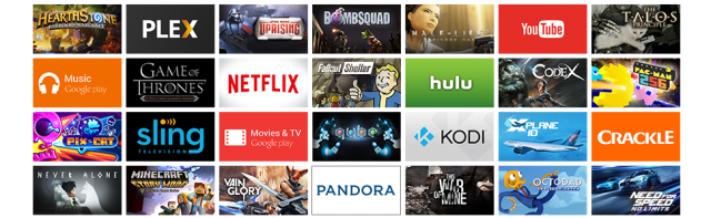 apps, plex, netflix, youtube, google play, google play music, sling, kodi, hulu, pandora, games