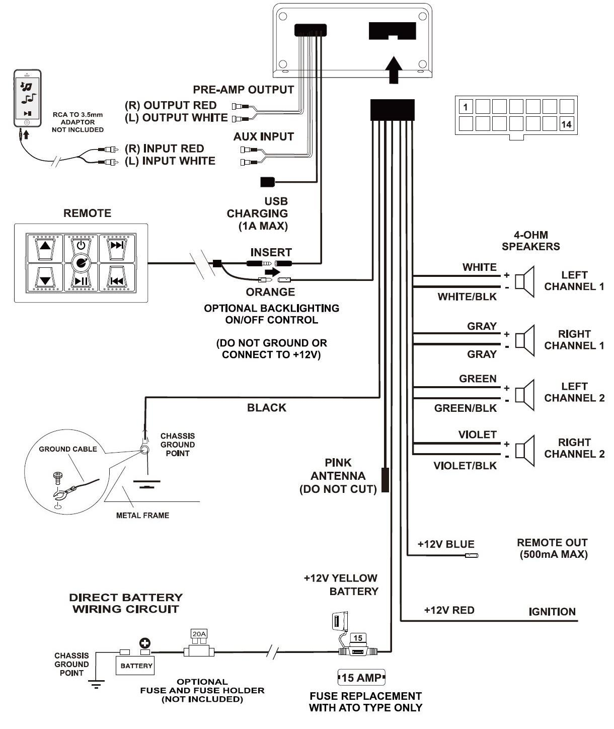 4 Channels 2 Ohms Wiring Diagram