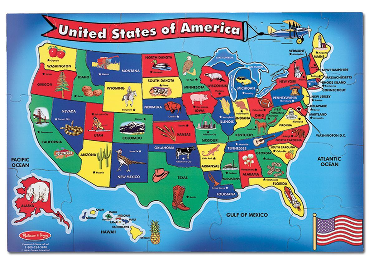 Amazon Melissa Amp Doug Usa Map 51 Pcs Floor Puzzle Melissa Amp Doug Toys Amp Games