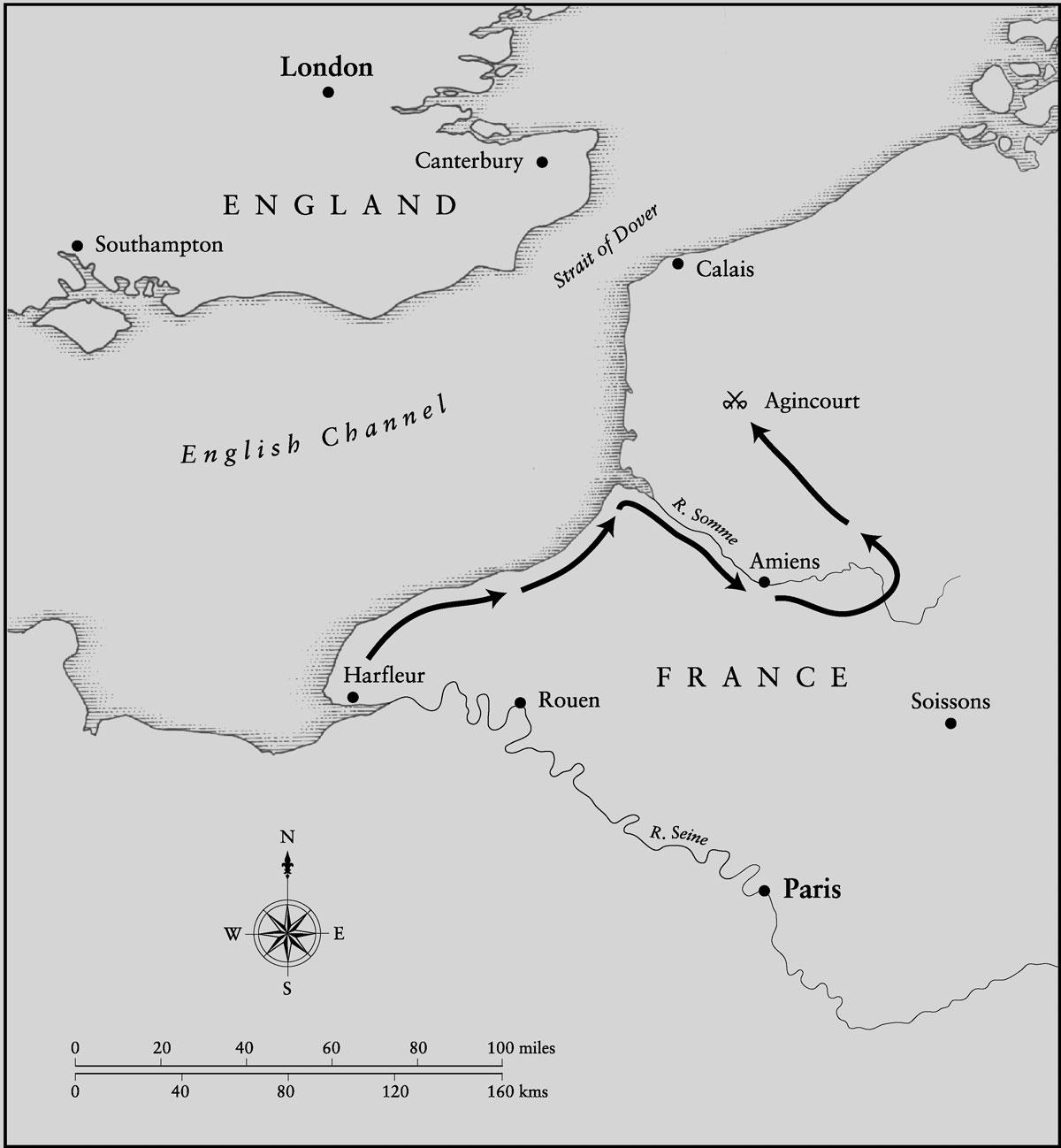 Rota de Henrique V passando por Harfleur até Azincourt