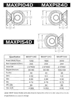 Amazon: Lanzar MAXP154D Max Pro 15Inch 2000Watt SmallEnclosure Dual 4Ohm Subwoofer: Car