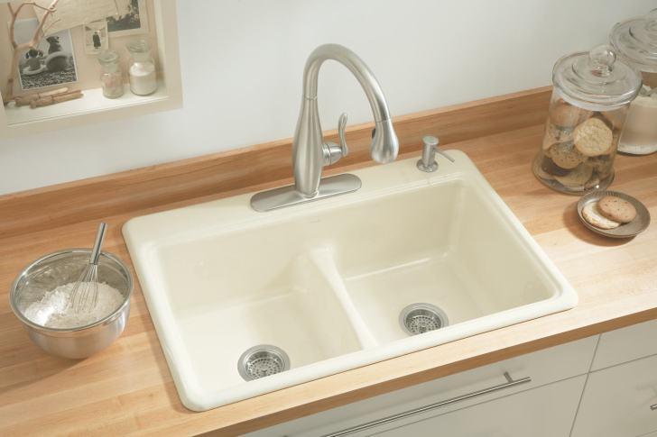Kohler 5838 Deerfield Smart Divide Self Rimming Kitchen Sink