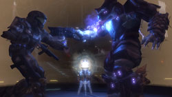ODST rookie battling a Covenant enemy in 'Halo 3: ODST'