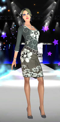 Model on the catwalk in Project Runway the Video Game