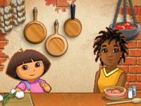 Slicing mini-game from Dora's Cooking Club