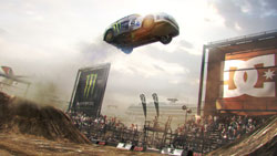 Car catching air in stadium class race in 'DiRT 2'
