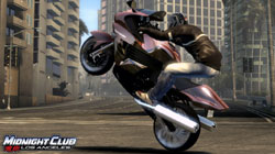 A motorcycle popping a wheelie in 'Midnight Club: Los Angeles'