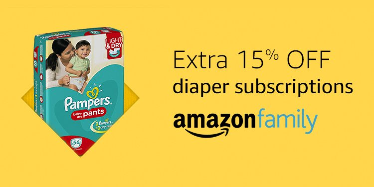 15% off diapers when you subscribe | Amazon Family