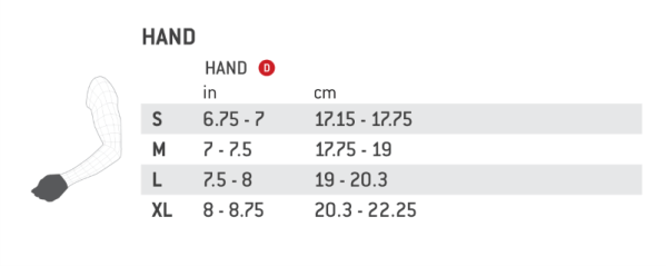 Adult Gloves size chart