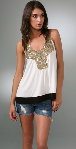 T-Bags Gold Sequin Tank