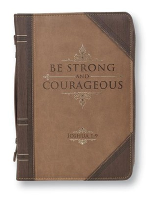 Strong and Courageous Bible Cover, Brown, Large  -