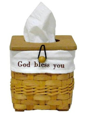 God Bless You Tissue Basket with White Lining  -
