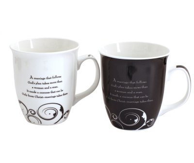 Mr. & Mrs. Mug Set, Marriage Takes Three  -