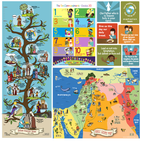 Sunday school Biblical map and poster set